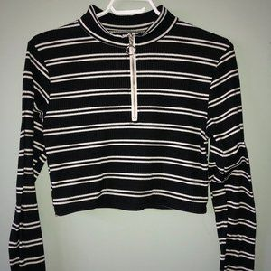 High Neck Half Zip Striped Knitted Top